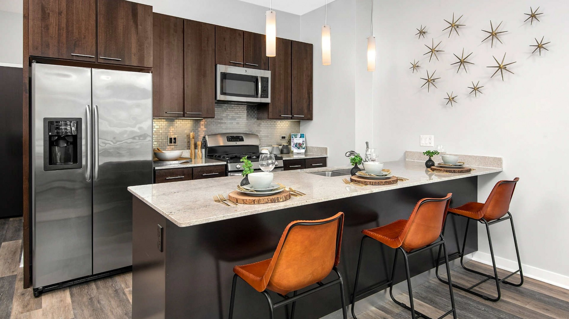 Upscale finishes include granite countertops and GE ENERGY STAR stainless steel appliances.