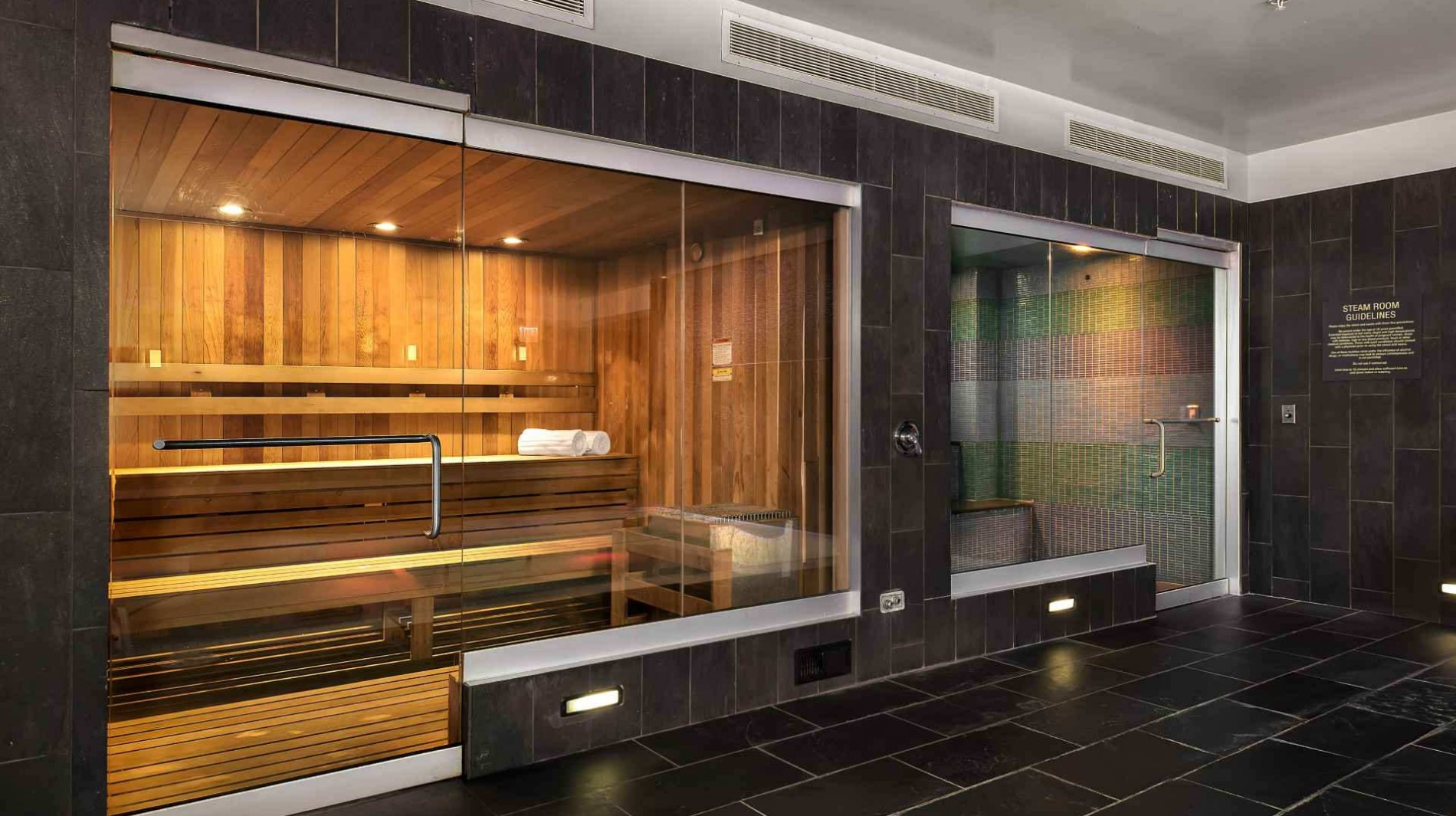 Unwind in our on-site steam room before a dip in the pool.