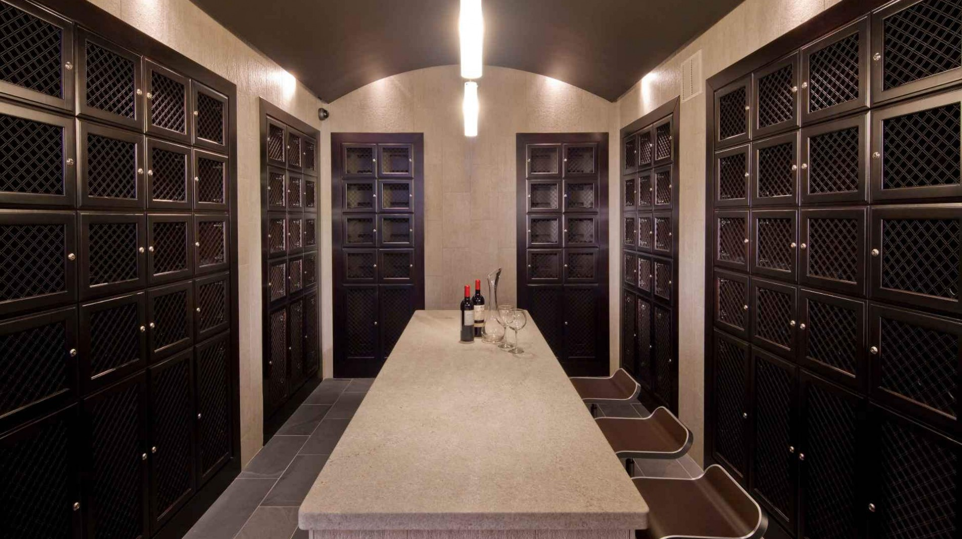 A private wine cellar features climate-controlled storage for your bottles.
