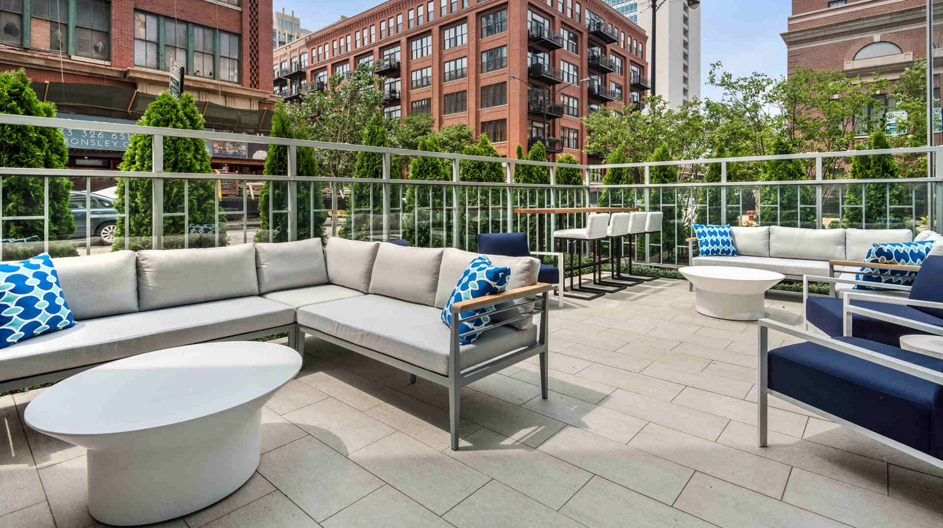Enjoy our outdoor entertaining terrace with fireplace and lounge seating.