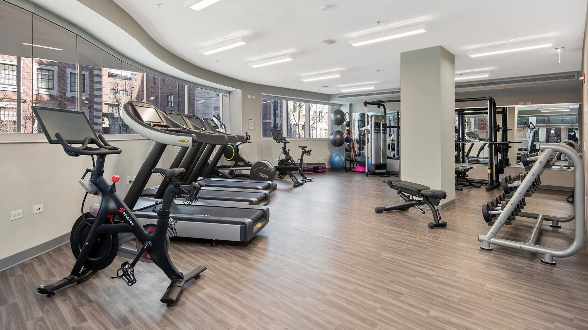 An expansive fitness center.
