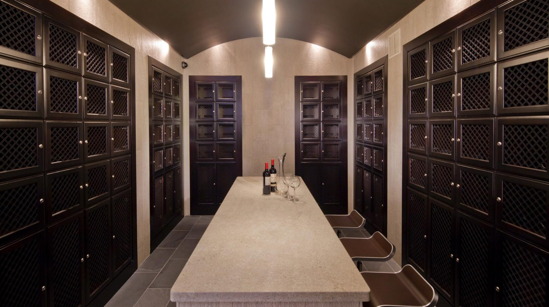 Private climate-controlled wine lockers and tasting room.